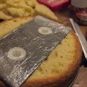 Tape concealed inside cake